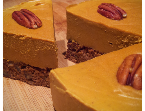 pumpkin on apple half-baked cheesecake